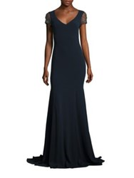 Theia Jeweled Crystal Embroidered Tulle Gown Navy