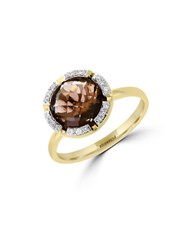 Effy Final Call Diamond Smoky Quartz And 14K Yellow Gold Ring
