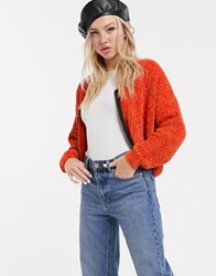 Lazy Oaf Chenille Cardigan With Contrast Zip Front Orange