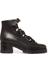 Valentino Plum Lace Up Leather Boots Black