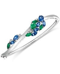 Le Vian Precious Collection Sapphire 2 3 8 Ct. T.W. Emerald 1 1 5 Ct. T.W. And Diamond 1 5 Ct. T.W. Bangle Bracelet In 14K White Gold