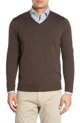 John W. Nordstromr Men's Big And Tall Nordstrom Merino Wool V Neck Sweater Brown Fawn