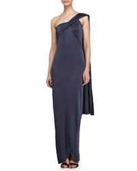 Halston One Shoulder Wrap Gown Grey