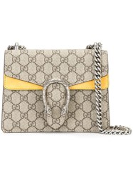 Gucci Logo Print Crossbody Bag Leather Suede Metal Nude Neutrals