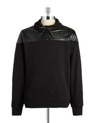 Guess Faux Leather Accented Sweatshirt