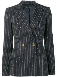 Escada Striped Jacquard Jacket Blue