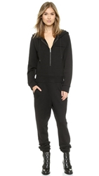 Dkny X Cara Delevingne Hooded Jumpsuit With Logo Black White