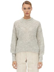 Isabel Marant Inko Mohair Blend Knit Sweater Light Grey