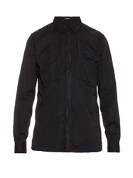 Bottega Veneta Point Collar Long Sleeved Cotton Shirt Navy