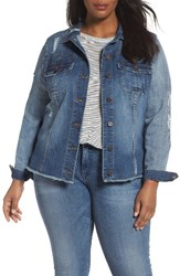 Kut From The Kloth Plus Size Women's Distressed Denim Jacket Astral