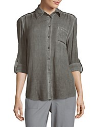 Alice Olivia Piper Button Down Front Shirt Light Grey