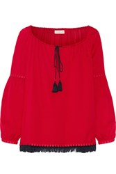 Tory Burch Sylvie Fringe And Guipure Lace Trimmed Silk Blouse Red