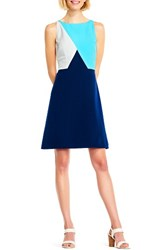 Adrianna Papell Women's Colorblock A Line Dress Dusk Pacific Blue