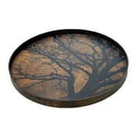 Notre Monde Round Tree Driftwood Tray Large Black