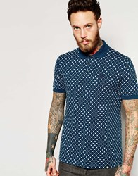 Pretty Green Polo Shirt With All Over Print Navy Navy
