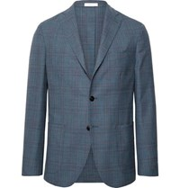 Boglioli Blue K Jacket Slim Fit Unstructured Prince Of Wales Checked Wool Blazer Blue