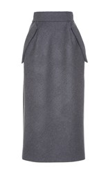 Dice Kayek Midi Wool Pencil Skirt Grey