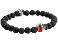 King Baby Studio 8Mm Lava Rock Bracelet With Red Coral Raven Claw