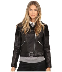 Nicole Miller Asymetrical Zip Front Leather Moto Lamb Skin And Goat Suede Combination Black Women's Coat