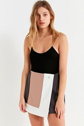 Urban Outfitters Uo Mel Colorblock Mini Wrap Skirt Neutral Multi