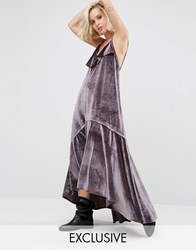 Religion Ruffle Maxi Cami Dress In Velvet Mauve Grey