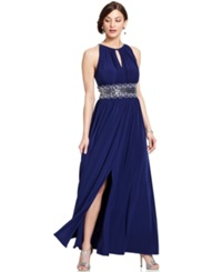 R And M Richards Sleeveless Beaded Evening Gown Royal Blue