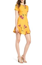 Socialite Cutout Fit And Flare Dress Yellow Floral
