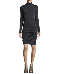 Velvet Annia Long Sleeve Ruched Turtleneck Dress Black