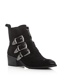 Dolce Vita Scott Buckle Almond Toe Booties Black Silver