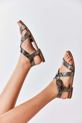Urban Outfitters Maddie Faux Python Leather Sandal Black Multi