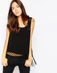 Minimum Sleeveless Fringed Top Black