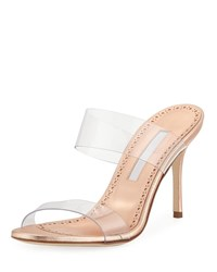 Manolo Blahnik Scolto Leather And Pvc Slide Sandals Rose Gold