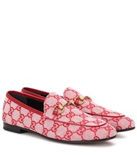 Gucci Jordaan Gg Canvas Loafers Red