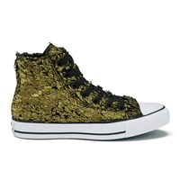 Converse Women's Chuck Taylor All Star Sparkle Fur Hi Top Trainers Gold Black Black