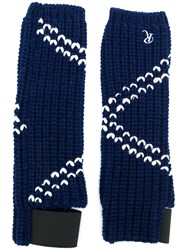 Raf Simons Contrast Knitted Gloves Blue