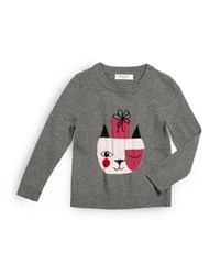 Milly Minis Holiday Cat Pullover Sweater Gray Size 8 14 Girl's Size 12