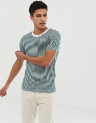 Selected Homme T Shirt With Stripe Rain Forest Green