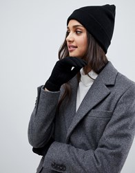 Brave Soul Black Beanie With Gloves