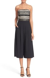 Women's Alice Olivia 'Emberly' Beaded Gaucho Jumpsuit Black Natural