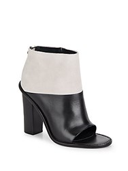 Tibi Ondria Colorblock Leather And Suede Peep Toe Booties Putty Black