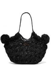 Ulla Johnson Lalo Mini Pompom Embellished Straw Tote Black