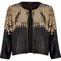 River Island Womens Black And Gold Sequin Bolero