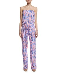 Lilly Pulitzer Tia Strapless Printed Jumpsuit Iris Blue