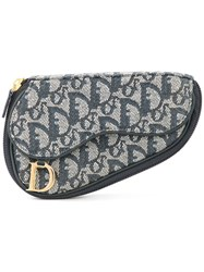 Christian Dior Vintage Trotter Saddle Cosmetic Pouch Grey