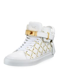 Buscemi Monogramed Leather Mid Top Sneakers White