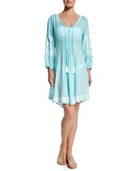Letarte Royal Hawaiian Embroidered Trim Sun Dress Seafoam