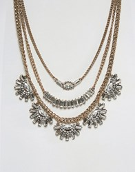 Aldo Statement Necklace Silver Gold