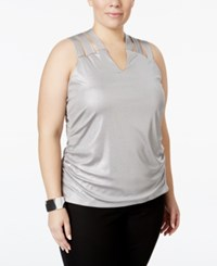 Inc International Concepts Plus Size Metallic Lattice Back Tank Top Only At Macy's Silver