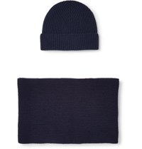 Johnstons Of Elgin Ribbed Cashmere Scarf And Beanie Set Navy