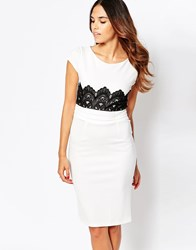 Jessica Wright Ivy Pencil Dress With Crochet Detail White